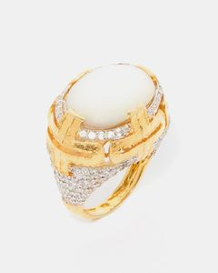 Star Jewels Gold Plated & White Sterling Silver Ring Studded With Culture Pearl