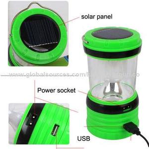YuTian YT-821 220V Rechargeable Solar LED Lantern , Power Bank & Camping Lamp(Green/Red)
