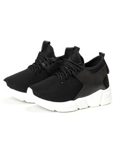 Black-Synthetic Yeezy Lace-Up Sneakers For Men