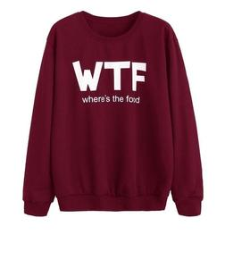 Wtf Where'S The Food Printed Maroon Sweatshirt For Women