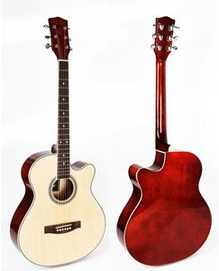 Natural 40 inch cutaway linden body acoustic guitar
