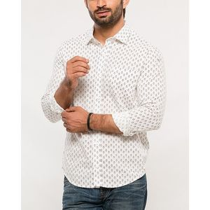 Denizen White Cotton Woven Shirt for Men
