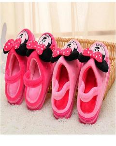 Disney Mickey Embroidery Velvet Shoes - Pink