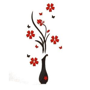 Diy Vase Flower Acrylic Crystal Tree 3D Wall Sticker For Home Decor - Black & Red