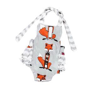 Girls Baby Cartoon Fox print Halterd Romper Backless Sunsuit Jumpsuit Dress