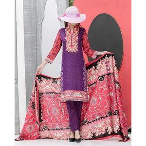 Pink & Purple Floral Printed Lawn Suit For Women - 3 Pcs