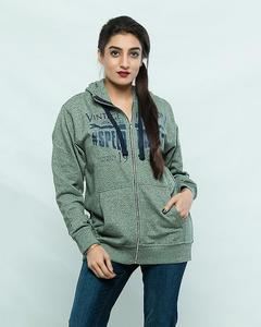Green Fleece Printed Hoodie For Women