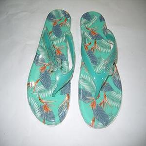 Light Green Rubber Flip Flops For Women