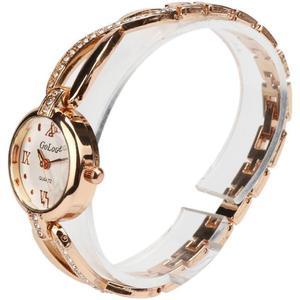 Fashion Women Alloy Dial Quartz Analog Rhinestone Bracelet Wrist Watch BK