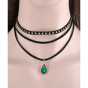 SK 3 Layers Choker Necklace With Green Pendant - CN009G