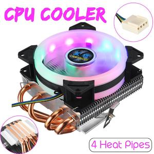 【Free Shipping + Flash Deal】CPU Cooler 4 Heatpipes 90mm 4Pin LED RGB Fan for LGA 775/1155/1151/1150/1366 AMD