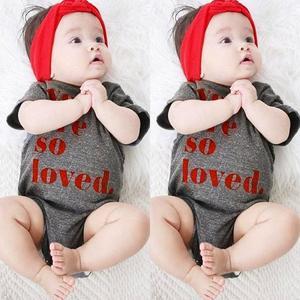 Stonershop Toddler Baby Short Sleeve Letter Print Romper Newborn Jumpsuit Clothes