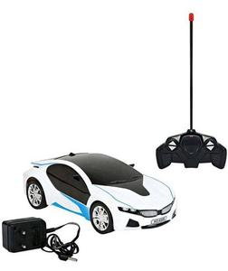 3D Famous RC Car with Led lights - Rechargeable - White
