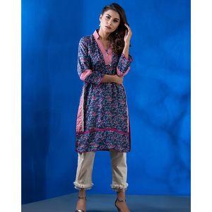 Pink Stripes-Blue Khaddar Unstitched 1 Piece-Wc17sp-11