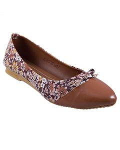 Brown Floral Flat Pumps For Women