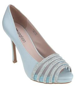 Sea Green Imported Synthetic Leather Glittery High Heels for Women - UU96