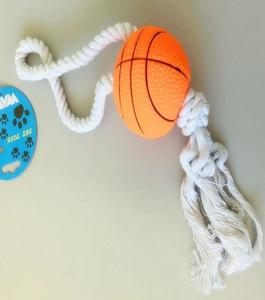 Dog Toys Squeaky Sport Ball With Rope - Basketball