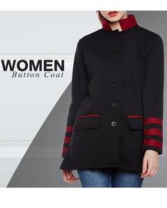 Black Women Button Coat