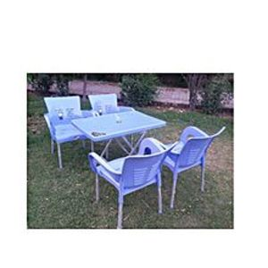 CHIEF(Boss) Set Of 4 Relaxo Plastic Chairs And Plastic Table - Blue