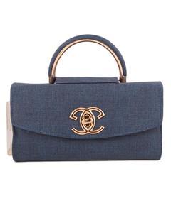 Blue-Constance Vergo - Long Wallet-Hand Clutch - Leather Bag With Golden Chain CLT-38-MINI-BLU-17-