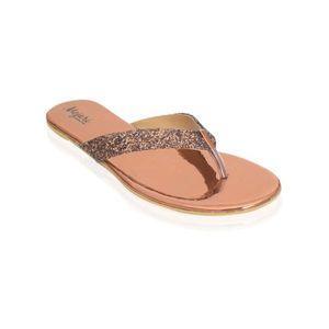 Mojari Copper Synthetic V-Strap Slipper for Women