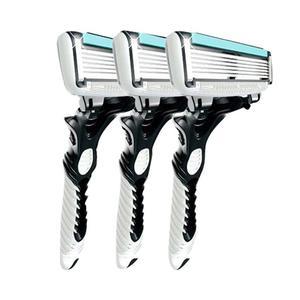 3Pcs Men Safety Classic 6 Layers Shaving Hair Blade Razor Stainless Steel white&blue