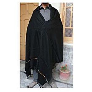 Charsadda HandMadeSwati Shawl For Gents - Black Color - Thin Woolen Shawl