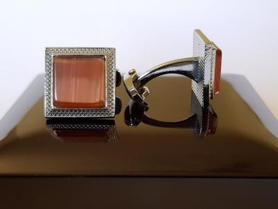 Rust / Burnt Orange - Gemstone - Square Cufflinks for Men