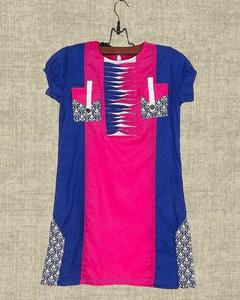 Pink & Blue Cotton Embroidered Kurta For Girls