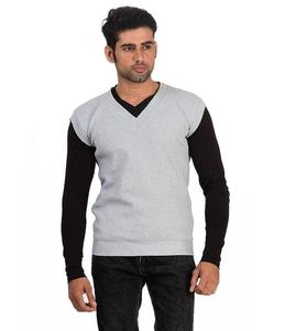Grey V-Neck Fleece Sweater For Men