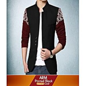 AN Fashion Multicolor Fleece Arm Printed Designer Coat For Men