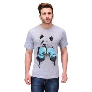 Ace Grey Cotton Panda Printed T-Shirt for Men