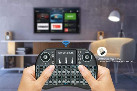 Mini Wireless TV Keyboard and Touchpad Mouse Combo with LED Backlit and with high quality rechargeable battery, compatible for Laptop/desktop, Smart TV, Android Box, LED, Tabs.