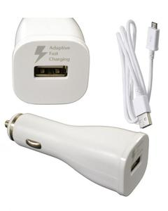 Fast Car Charger With Micro USB Cable For S6/Edge,S7/Edge - White