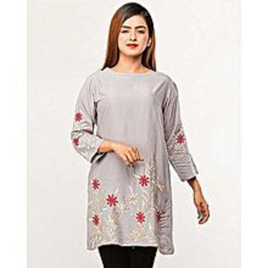 MM Collection Grey Boski Embroidered Kurta For Women