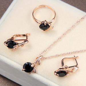 Jewellery Set For Women, Black Cubic Zirconia and Gold Plated, Necklace, Ring, Earring
