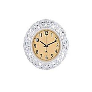 "Fashion.shop Antique Gold Shaded Wall Clock - 17X17"" - White"