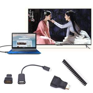 HDMI Male to Female Adapter Cable Line With Micro USB to USB Connector Parts