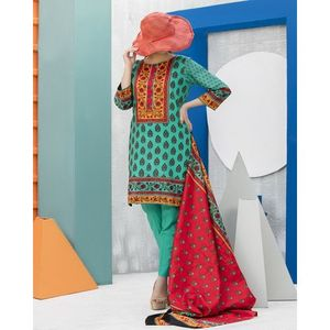 Green & Red Floral Printed Lawn Suit For Women – 3 Pcs