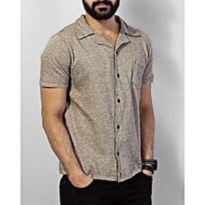 ZEDAGEGrey with Brown Dots Mix Cotton Men's T shirt