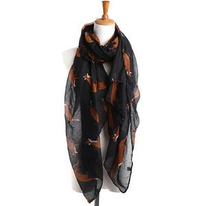 MissFortune Lady Womens Long Cute Fox Print Scarf Wraps Shawl Soft Scarves
