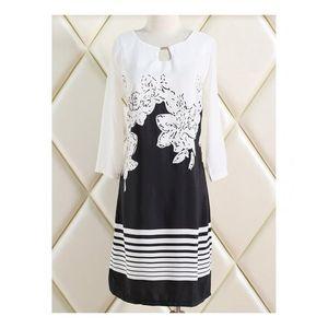 Charji Shop Black - Polyester Floral Print Dress