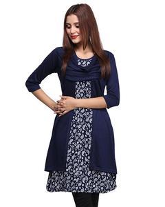Stylish Navy Blue Shrug Style Kurti For Women