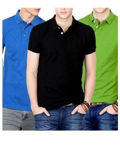 Pack of 3 – Multicolor Cotton Polo T-shirts For Men