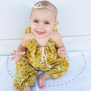 MissFortune Infant Toddler Baby Girls Floral Print Strap Romper Jumpsuit Outfits Clothes