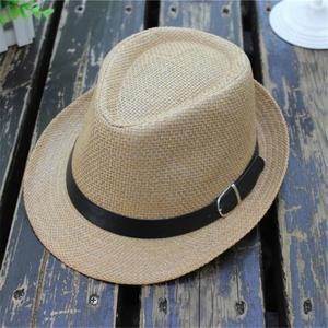 Children's Trilby Gangster Cap Lattice Pattern Beach Sun Straw Hat Band Sunhat