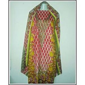 SM BAWANI COLLECTIONBrown & Red Kameez Or Brown Shalwar & Brown Embroidery Three Piece Suit - For Women