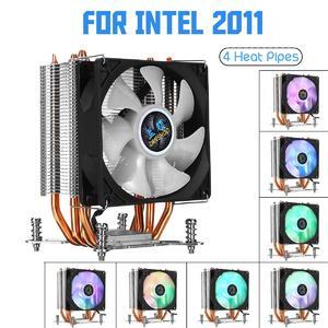 Intelligence 【 Flash Deal】Screw Base CPU Cooler 4 Heatpipe 3Pin 90mm LED RGB Cooling Fan for LGA 1366/2011