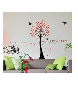 WALL STICKER RED LEAVES TREE WALL STICKER