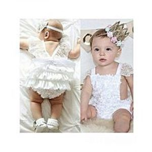 China Newborn Baby Girls Jumpsuits And Rompers Lace White Dress